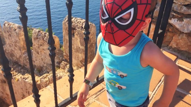 Little Boy Spider Man Walks on Mount (Turkey — Alanya)
