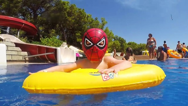 Little Boy Spider-Man at the Aqua Park (Turkey)