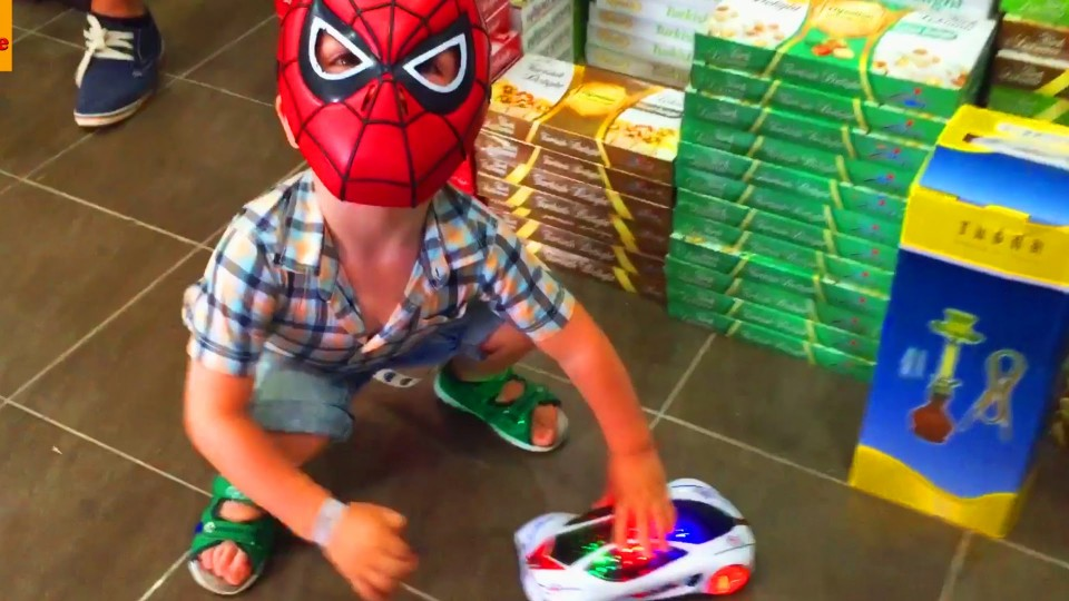 Little Boy Spider-Man Playing in the Store