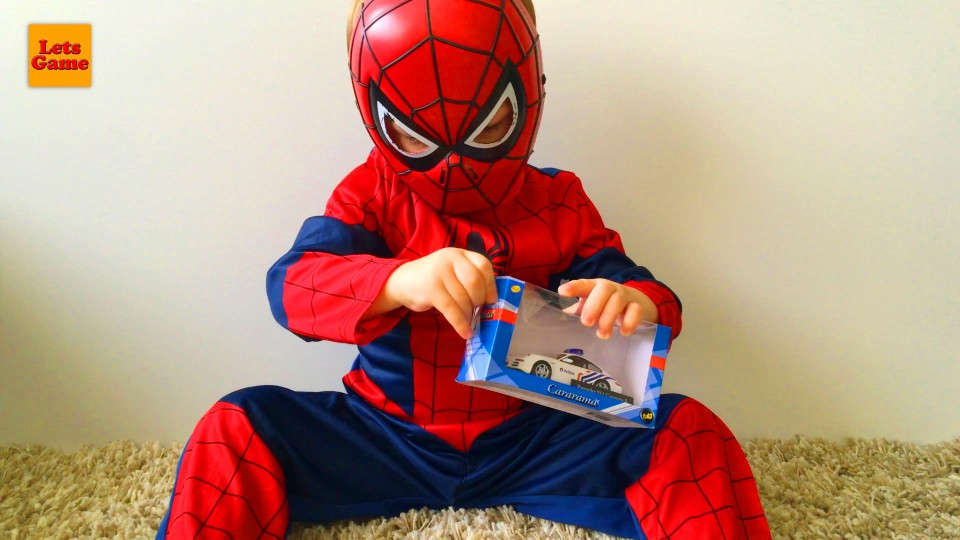 Little Boy Spider-Man Playing with Cars Toys