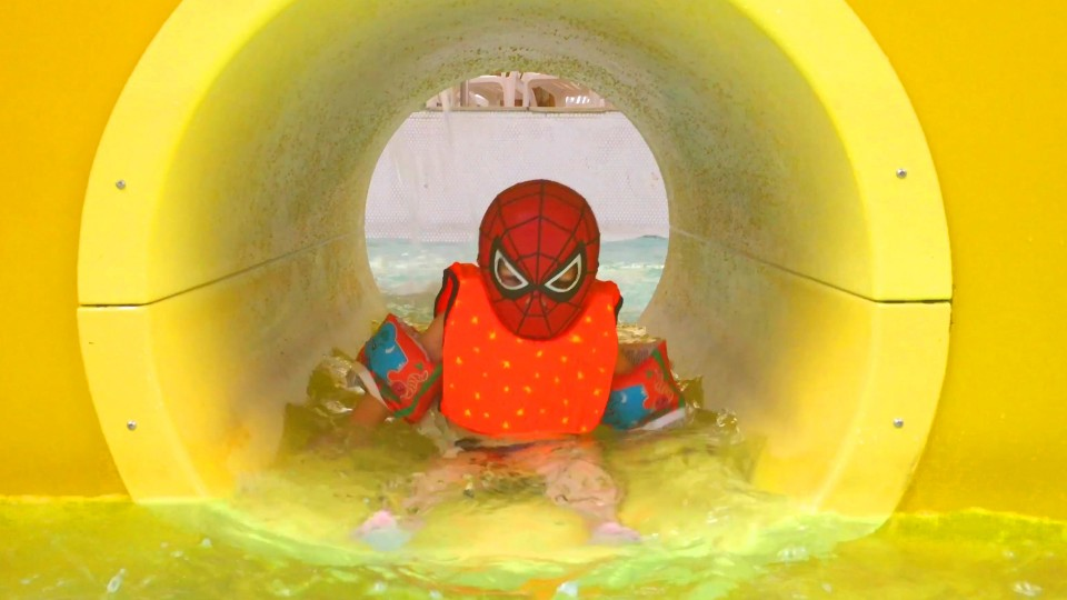 Little Boy Spider-Man ride on Water Slide at Aquapark