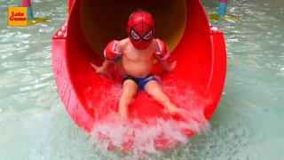 Little Boy Spider-Man at the Aqua Park Brussels