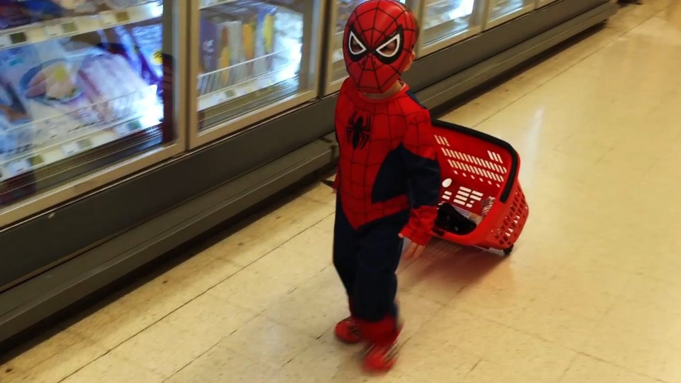 Little Boy SpiderMan Going to the Store for Milk