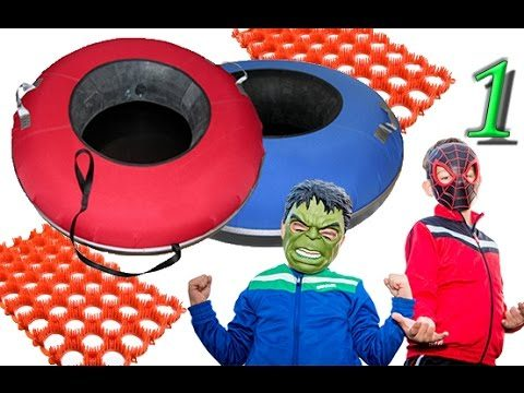 Children's entertainment center with water slides with Spider Man and Mini Hulk