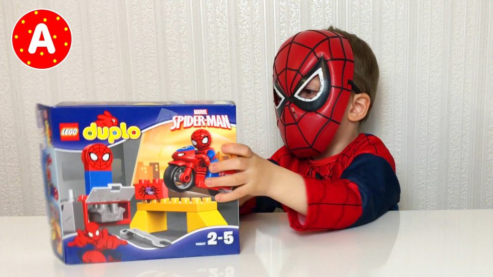 Little Boy Adam Unpacking Toys Lego Duplo Spider-Man
