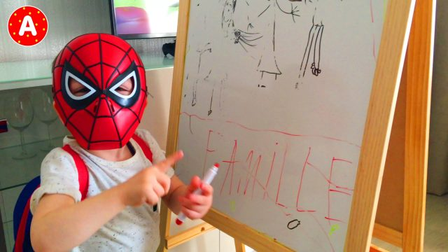 Little Boy Spider-Man Drawing on the Board