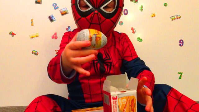 Little Boy Spider-Man Opening Kinder Surprise Eggs