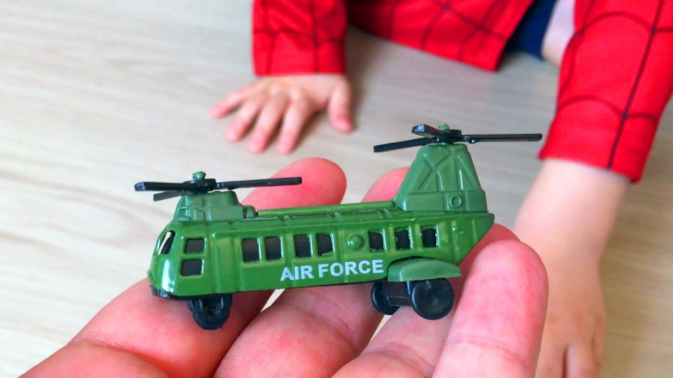 Little Boy Spider-Man Play with Military Equipment Cars Toys