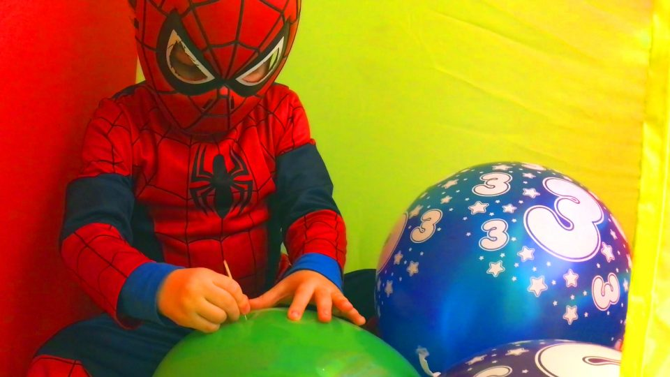 Little Boy Spider-Man Popping Balloons
