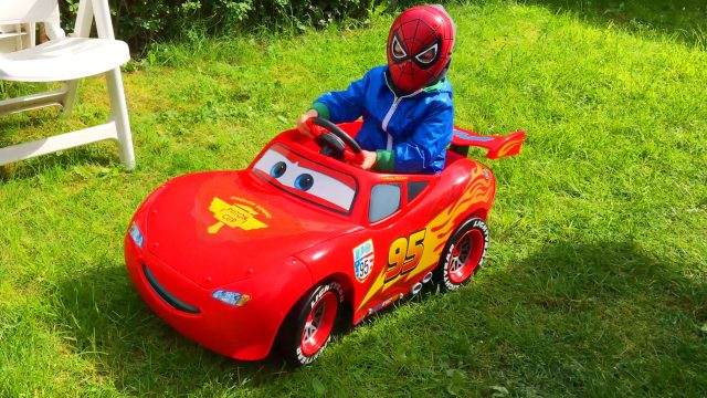 LittleBoy Adam Ride on a Swing, Cars Lightning McQueen and Mowing Lawn