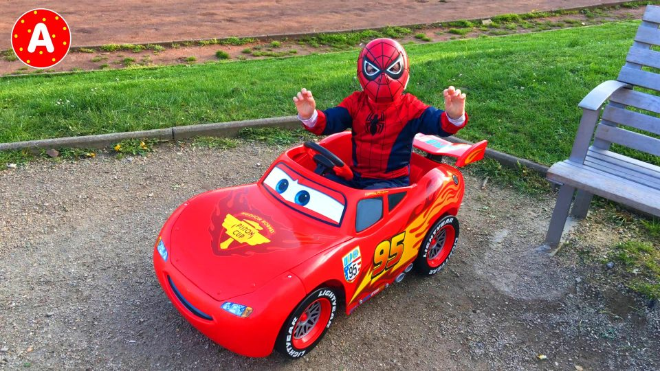 LittleBoy Adam Spider-Man Driving his Lightning McQueen Car