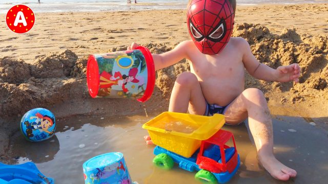 LittleBoy Adam Spider-Man First Time Playing with Beach Sand