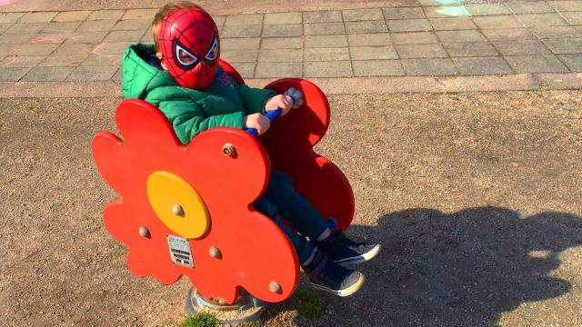 LittleBoy Spider-Man Have Fun in the Park