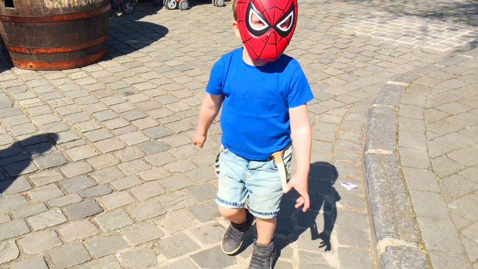 Spider-Man LittleBoy Adam Have Fun in Amusement Park