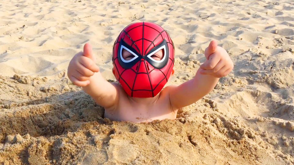 Spider-Man LittleBoy Adam Playing with Dad on the Beach