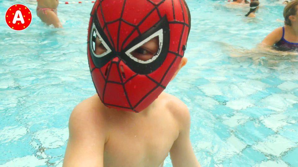 Spider-Man LittleBoy Adam at the Aqua Park