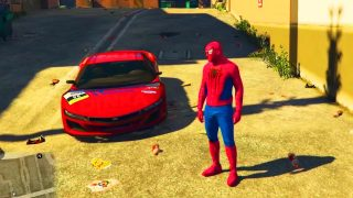 Spiderman conduit Voiture Sportive et Moto