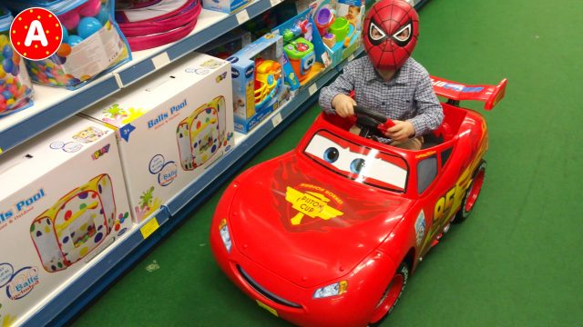Toy Store and Little Boy Spider-Man Superhero