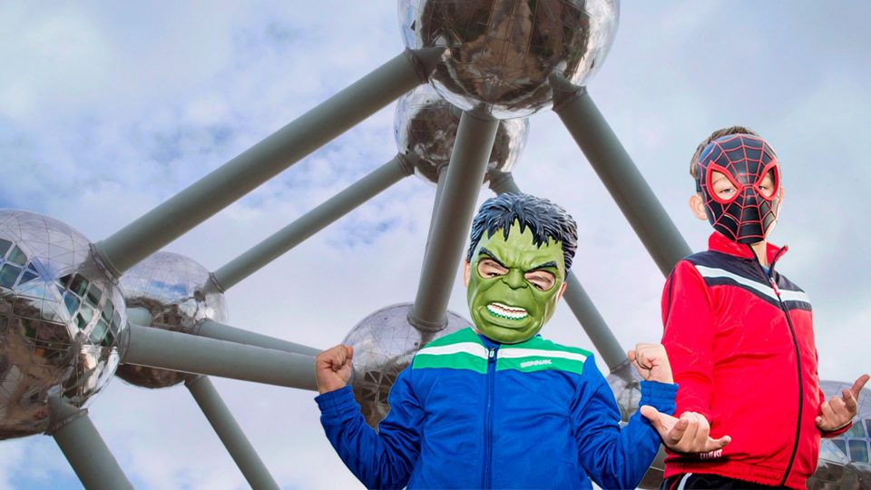 Trip with children in Brussels Atomium tower, Superheroes Mini 2