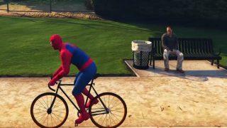 SpiderMan Fait du Vélo