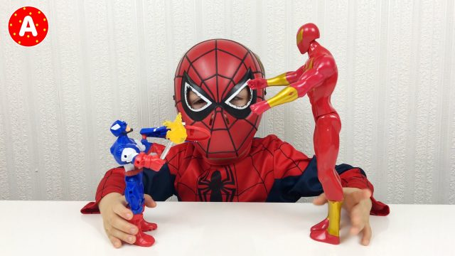 Spider-Man Little Boy Adam Unpacking Captain America Toy
