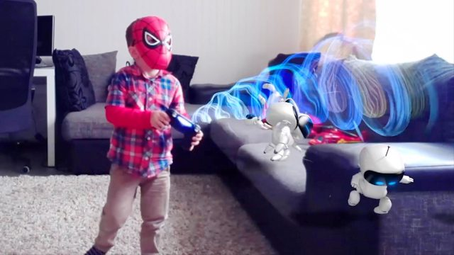 Spider-Man LittleBoy Adam Playing with PlayStation PS4