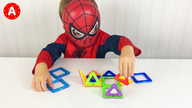 Little Boy Spider-Man Opening and Playing With Magic Magnetic Construct Bricks Toys