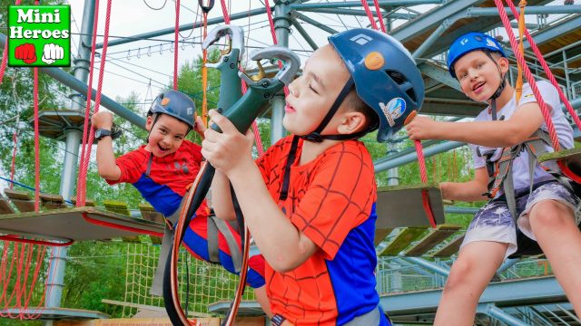 Little Spider Man climbs on a tower in the Best Adventure Park.  chapter 2