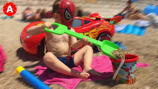 Spider-Man Playing on the Beach in France Nice