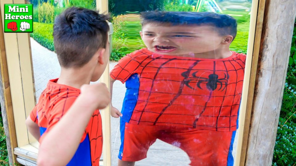 Spider Man looks in the distorting mirror