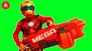 Boy vs Girl — Superhero Iron Man with Nerf N-Strike Mega Mastodon Big Gun Challenge